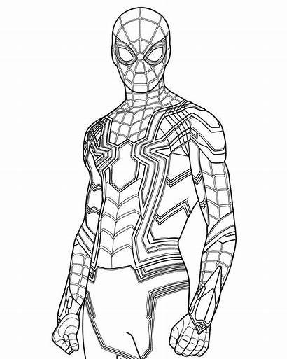 Spider Coloring Iron Spiderman Printable Suit Draw