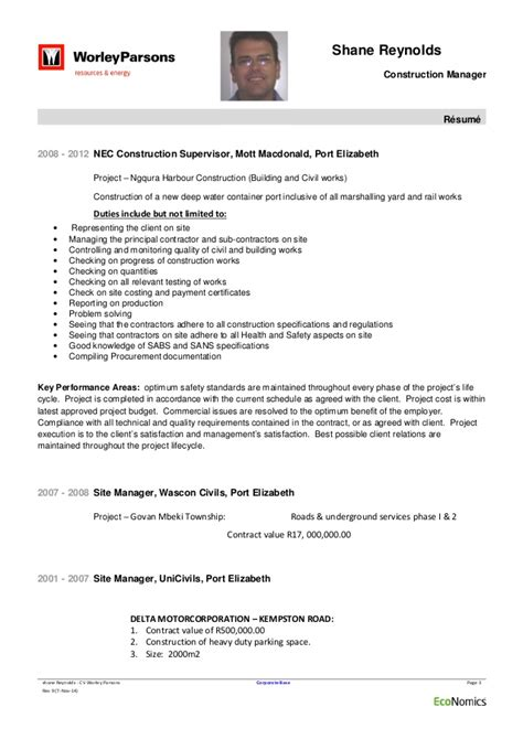 Electrical Supervisor Curriculum Vitae by Shane Cv Worley Parsons