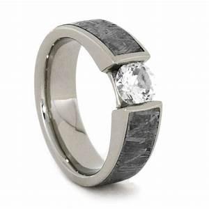 White Sapphire Gold Ring Inlaid W Meteorite 14k White