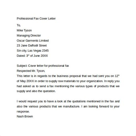 fax cover letter 9 free sles exles format