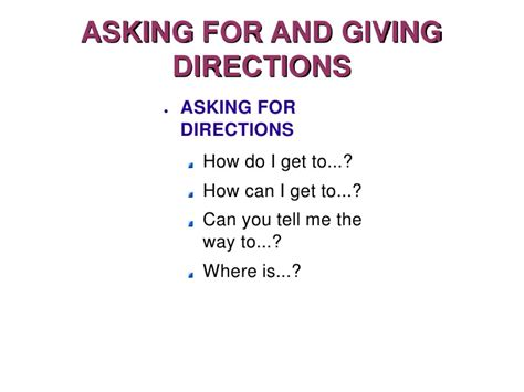 Asking Giving Directions Asking For And Giving Directions