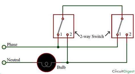 two way switch circuit diagram by 3 wire method