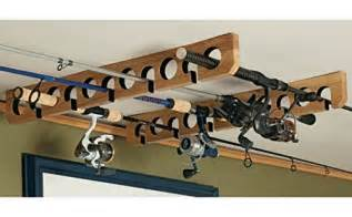 overhead ceiling mount fishing pole rod reel holder storage rack