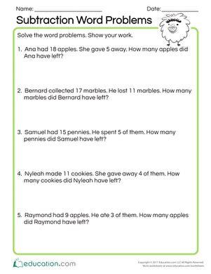 1st grade math worksheet subtraction word problems simple math word problems worksheet education