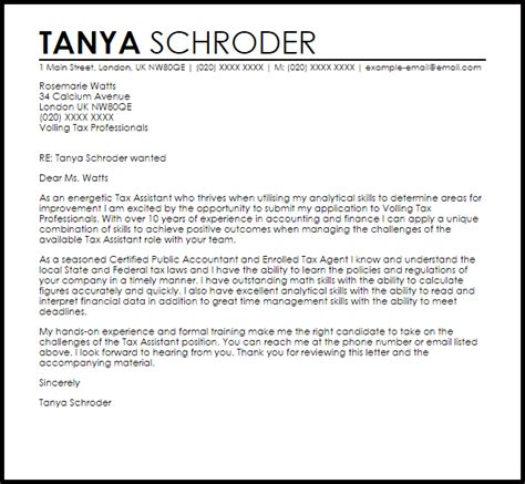 cover letter for tax position tax assistant cover letter sle livecareer