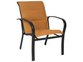 woodard fremont padded sling aluminum dining arm chair