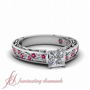 1 34 ct princess cut diamond pink sapphire shank wave for Princess cut pink diamond wedding rings