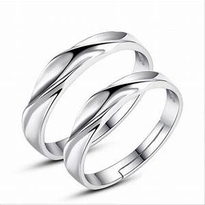 1 pair silver couple rings wedding band his and her With wedding rings pairs sale
