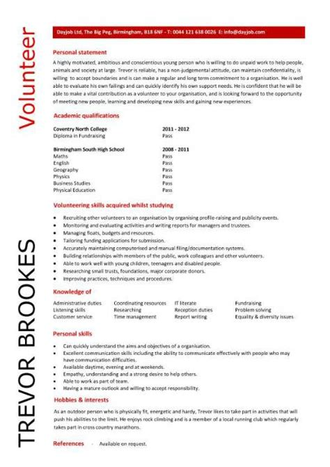 Volunteer Work On Resume by Volunteer Cv Sle