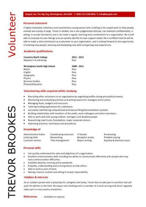 volunteer work on resume hospital volunteer resume exle volunteer cv sle
