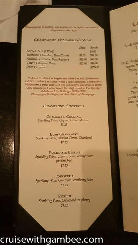 princess cruises drink prices  menus cruise  gambee