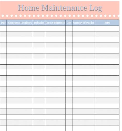 home maintenance log vehicle maintenance log home