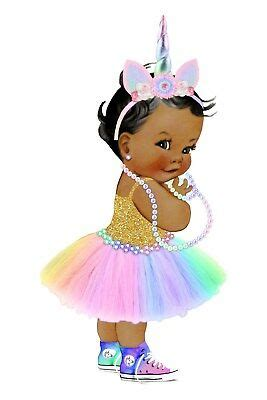 afro puff unicorn baby edible cake topper  image icing