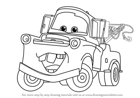 cars characters drawings learn how to draw tow mater from cars cars step by step
