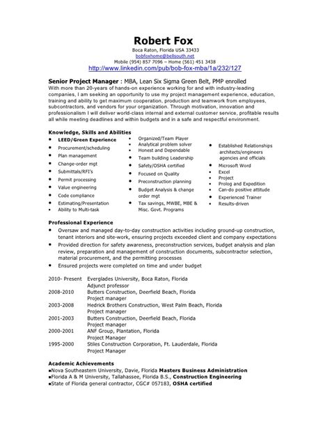 bob fox project manager resume aug 2010