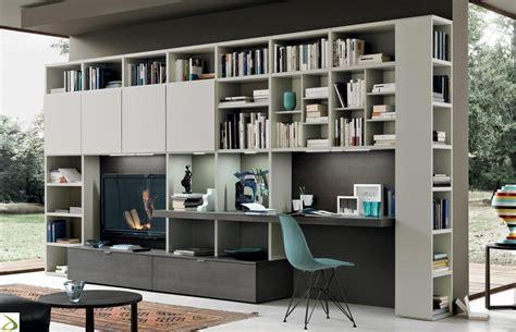 composizione mobili soggiorno parete soggiorno con scrivania crimi arredo design