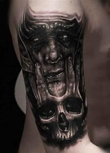 3D demon Tattoo Skull - http://tattootodesign.com/3d-demon ...