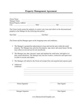 property manager forms  printable documents