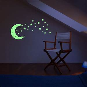Sticker phosphorescent ciel etoiles et lune stickers for Carrelage adhesif salle de bain avec led power supply