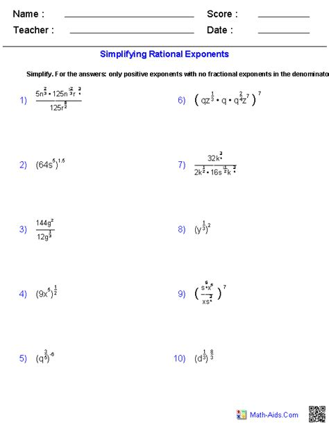 simplifying rational exponents worksheets math aids com