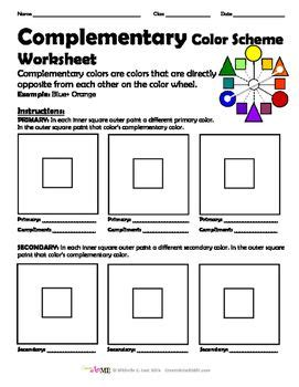 bundled  color schemes worksheets packet