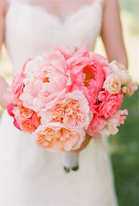 coral and pale pink peony garden bouquet wedding