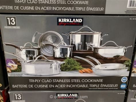 kirkland signature  piece stainless steel tri ply clad cookware set