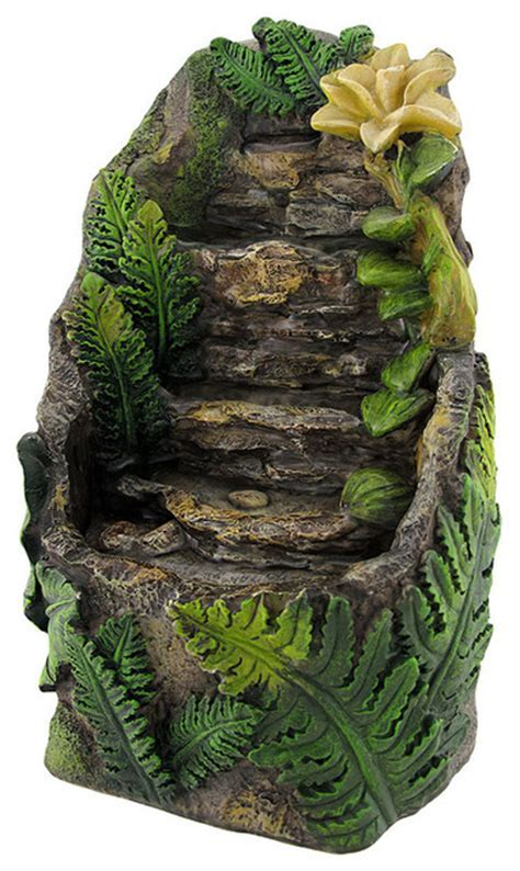 Stone and Flower Battery Operated Tabletop Water Fountain