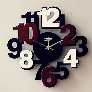 Modern wall clock featured with brown numbers
