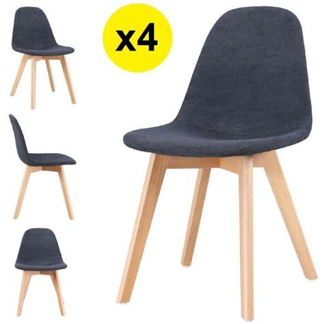 lot de 4 chaise lot de 4 chaises scandinaves tissu gris foncé skagen
