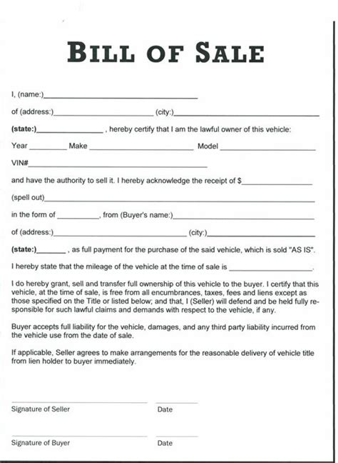 printable tractor bill  sale form generic bill
