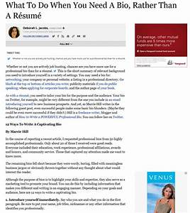 What to do when you need a bio rather than a resume for Need to do a resume
