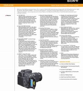 Sony Dslr A200 User Manual Marketing Specifications  Dslr