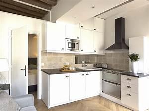 Relooking d39un petit appartement au coeur du marais elle for Idee deco cuisine avec cuisine aménagée ou Équipée