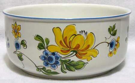 blue bouquet salad serving bowl villeroy boch provence blue yellow flowers at