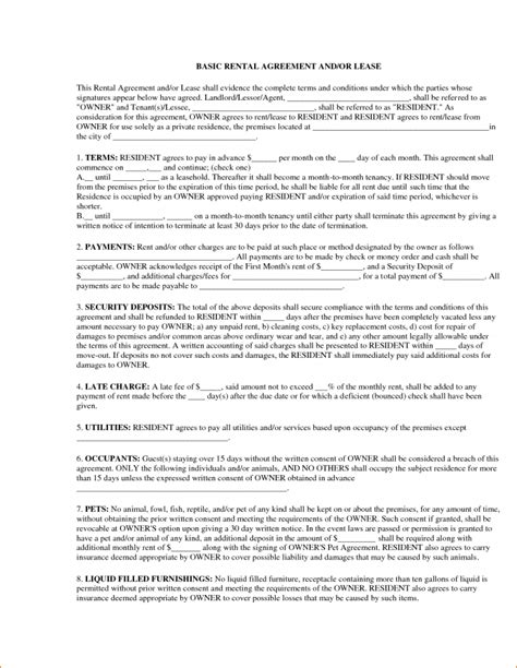 basic lease agreement template simple rental agreement resume trakore document templates