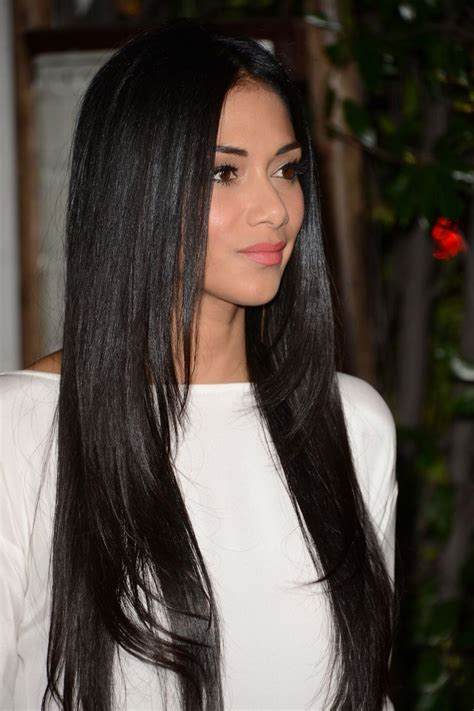 long straight layered hairstyles  naturaly black color