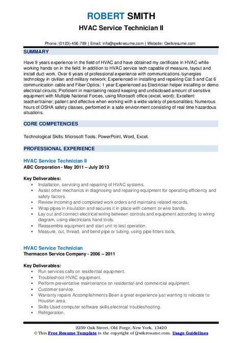 hvac service technician resume samples qwikresume