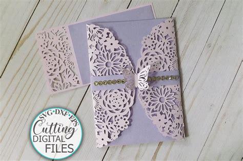 Floral Butterflies Wedding Invitation Gate Fold Laser Cut
