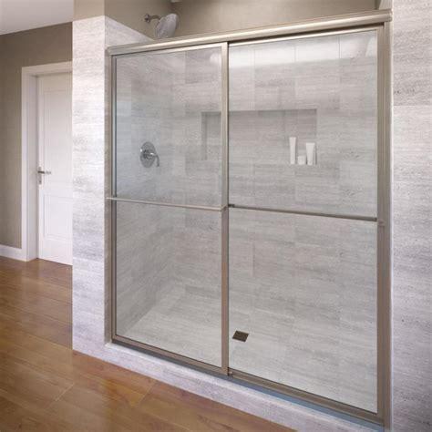 basco shower door shop basco deluxe 45 in to 47 in framed brushed nickel