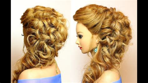 bridal prom hairstyle  long hair  curls youtube
