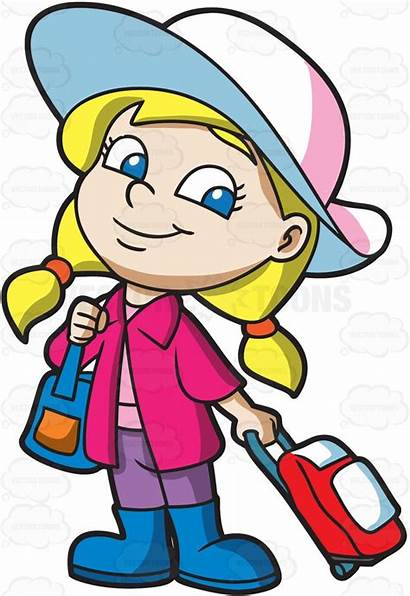 Cartoon Clipart Traveler Hair Pulling Hat Woman