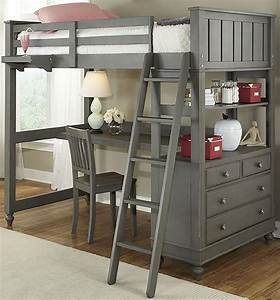 Lake, House, Stone, Twin, Loft, Bed, With, Desk, From, Ne, Kids