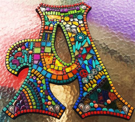 custom lettersinitials  tina  wise crackin mosaics mixed media mosaic mosaic crafts