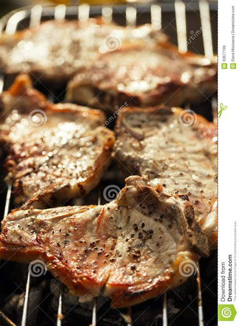 Pork Steaks On Grill