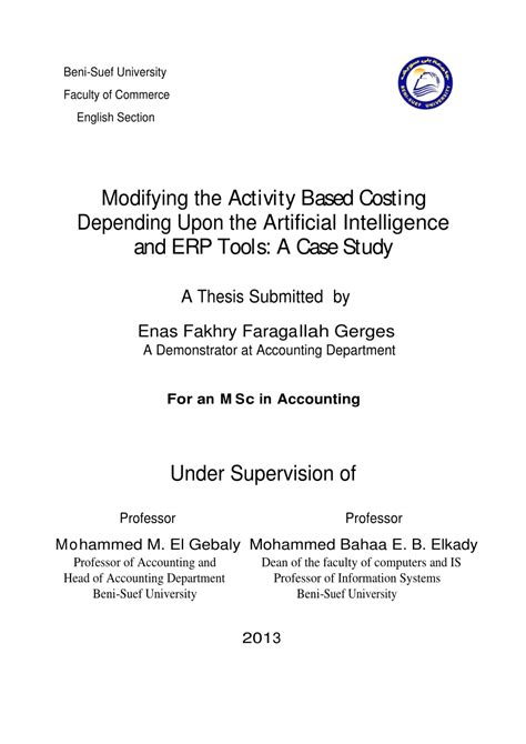 (PDF) Modifying the Activity Based Costing Depending Upon