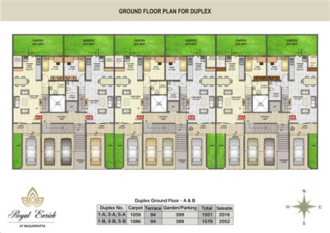row home plans about project royal enrich at magarpatta royal
