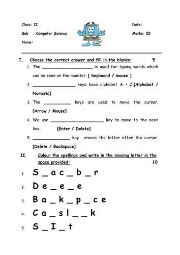keyboard worksheet for grade 2 computer science
