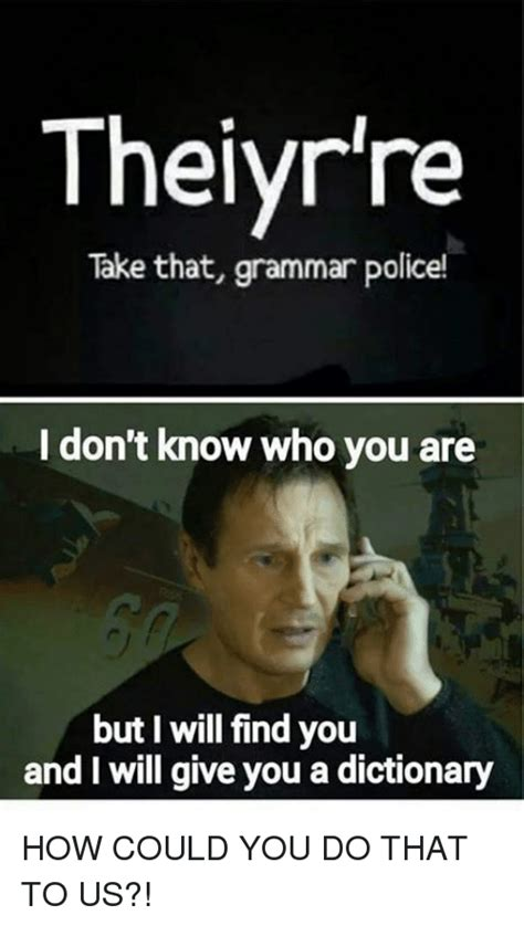 Grammar Police Meme - thelyr re take that grammar police i don t know who you are but i will find you and i will give