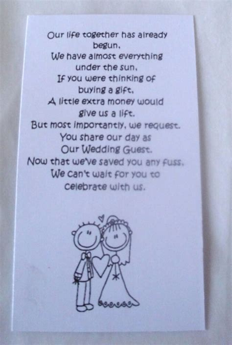 small wedding gift poem cards   money bride